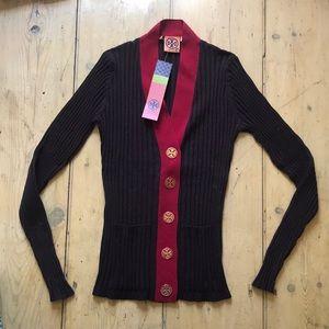 Tory Burch Jeanne cardigan sweater brown S NWT